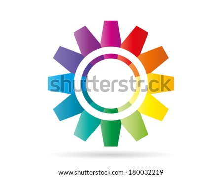 Colorful rainbow pieces forming a circle gear pattern vector illustration graphic isolated on white background - stock vector