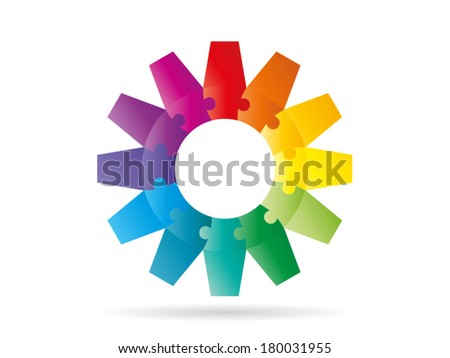 Colorful rainbow puzzle pieces forming a circle gear pattern vector illustration graphic isolated on white background - stock vector