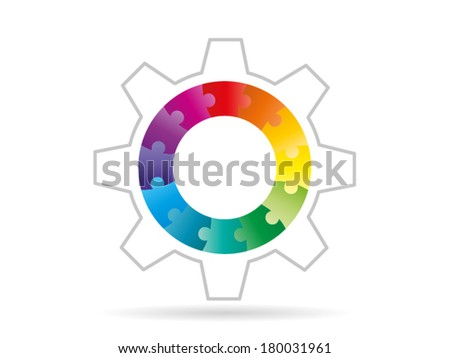 Colorful rainbow puzzle pieces forming a circle pattern in a gear vector illustration graphic isolated on white background - stock vector
