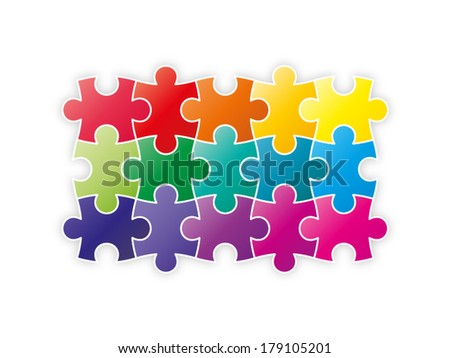 Colorful rainbow puzzle pieces forming a square vector illustration graphic isolated on white background - stock vector