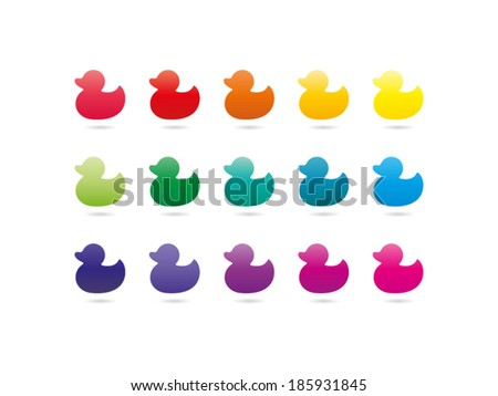 Colorful rainbow spectrum duck icons. Animal symbol. Vector graphic illustration template. Isolated on white background. - stock vector