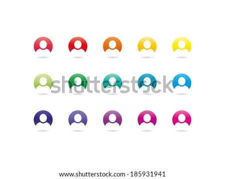 Colorful rainbow spectrum user sign icon. Human avatar. Vector graphic illustration template. Isolated on white background. - stock vector