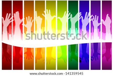 colorful raising hands, vector - stock vector