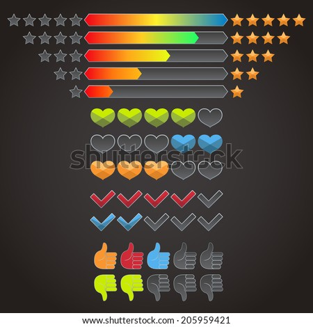 Colorful rating evaluation icons set of stars check marks hearts isolated vector illustration - stock vector