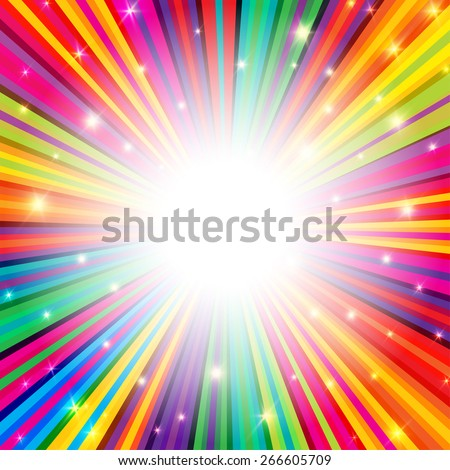 Colorful Rays Psychedelic Background with Space for Your Text in Center - stock vector