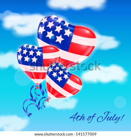 Colorful realistic balloons colored with USA national flag in the sky. Independence Day greeting card. Vector illustration. - stock vector