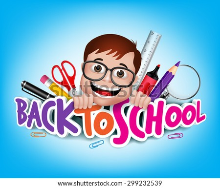 Colorful Realistic 3D Back to School Title Texts with Nerd Genius Student Happy Smiling with School Items. Vector Illustration - stock vector