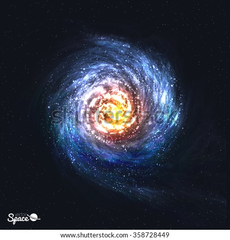 Colorful Realistic Spiral Galaxy on Cosmic Background. Vector illustration. - stock vector