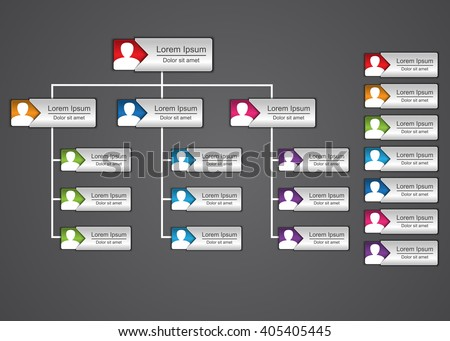Colorful Rectangle Organization Chart Infographics with People Icon, Business Structure, Vector Illustration. - stock vector