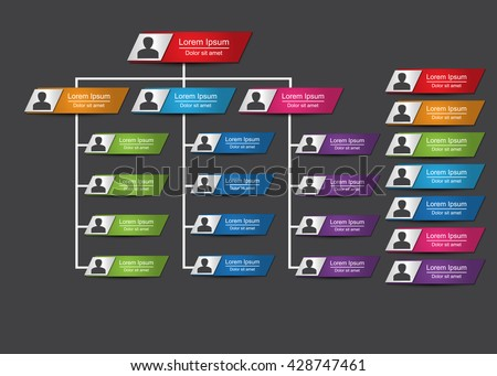 Colorful Rectangle Organization Chart Infographics with People Icon, Metallic Color, Business Structure, Vector Illustration. - stock vector