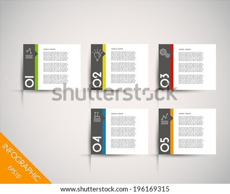 colorful rectangular stickers with arrow. infographic concept. - stock vector