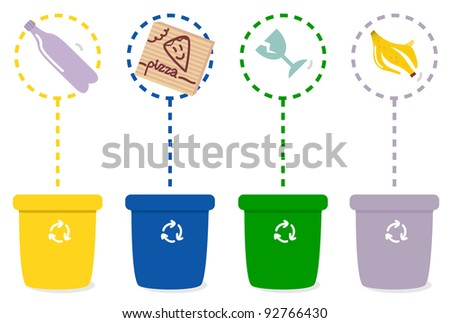 Colorful recycle bins isolated on white background - stock vector