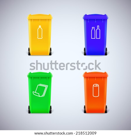 Colorful recycle bins with the symbols. Ecological trash set, isolated - stock vector