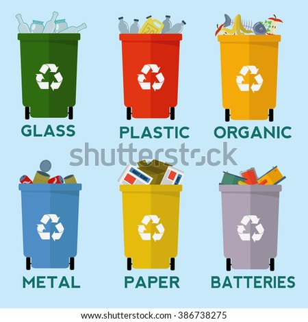 Colorful recycle garbage bins for waste separation vector set