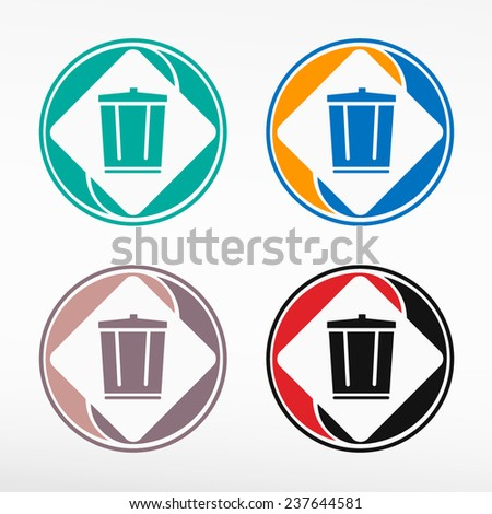 Colorful recycle garbage can - round color set. Web icon element. - stock vector