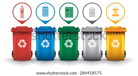 Colorful recycle trash bins with garbage icons, vector set - stock vector