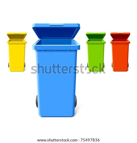 Colorful recycling bins. Vector. - stock vector