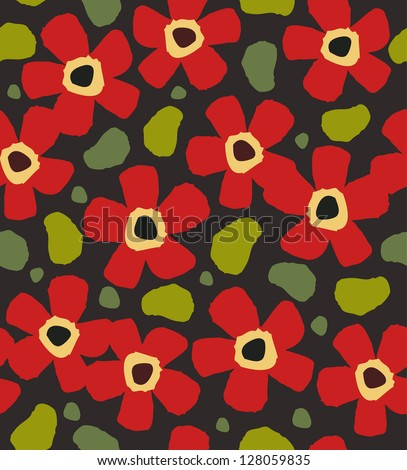 Colorful red flowers on the dark background. Floral decorative paint pattern - stock vector