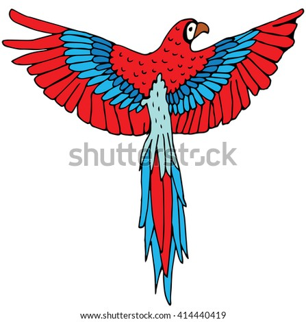 Colorful red parrot macaw isolated on white background - stock vector