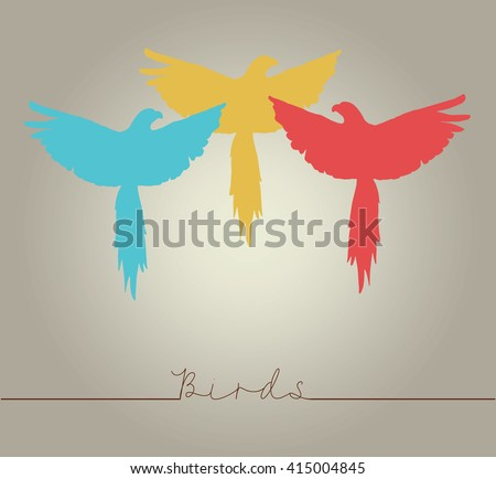 """Colorful red parrots macaw logo with text """"Birds"""" - stock vector"""