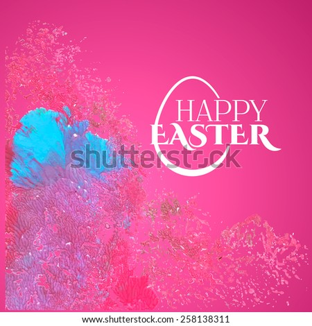 Colorful red pink and blue background watercolor Happy Easter card  - stock vector