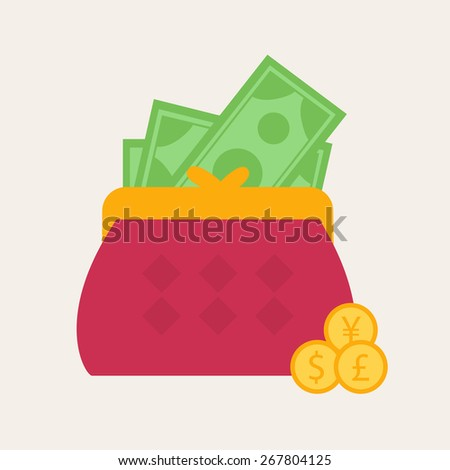 Colorful red wallet or purse with banknotes and gold dollar coins in a financial, earnings, spending and monetary concept, vector illustration - stock vector