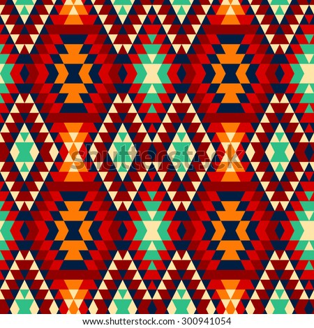 Colorful Red Yellow Blue Black Aztec Stock Vector