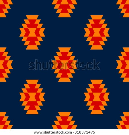 Colorful red yellow blue aztec ornament geometric ethnic seamless pattern, vector