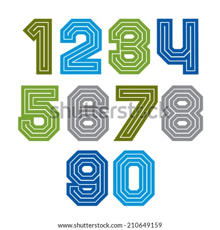 Colorful regular acute-angled digits, bright vector straight numbers isolated on white background. Wide graphic contemporary numeration. - stock vector