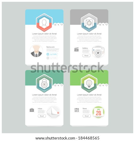 Colorful responsive flat widget elements  with icons for personal portfolio website,mobile templates and printing - stock vector