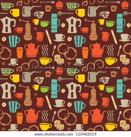 Colorful Retro Coffee Icons - stock vector