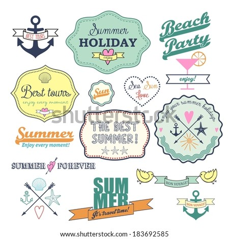 colorful retro elements for Summer calligraphic designs. Vintage ornaments.  All for Summer holidays. Labels, icons elements collection. Vector set. - stock vector