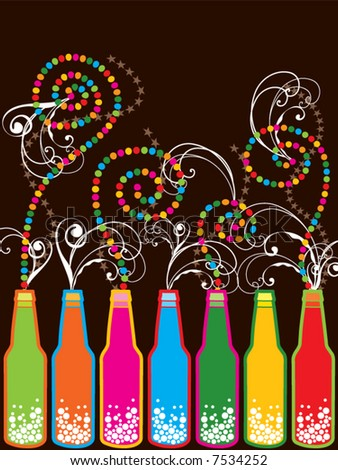 colorful retro pop new year bottles (vector) - stock vector