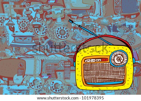 Colorful Retro Radio (collection of vector illustration) - stock vector