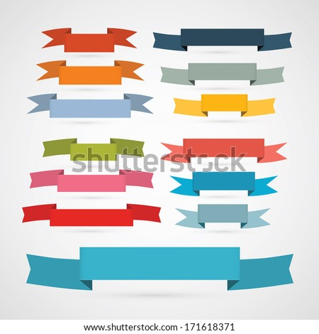 Colorful Retro Ribbons, Labels Set  - stock vector