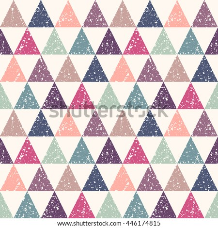 Colorful retro triangles with white splash or blobs texture seamless vector pattern. Triangles with uneven spots, specks, blots texture. Geometric multicolor abstract background. - stock vector