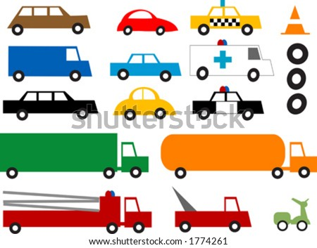 Colorful retro vehicles.  You can change the tires for different speeds. Vector illustration - stock vector