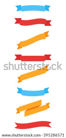 Colorful ribbons, banners set. - stock vector