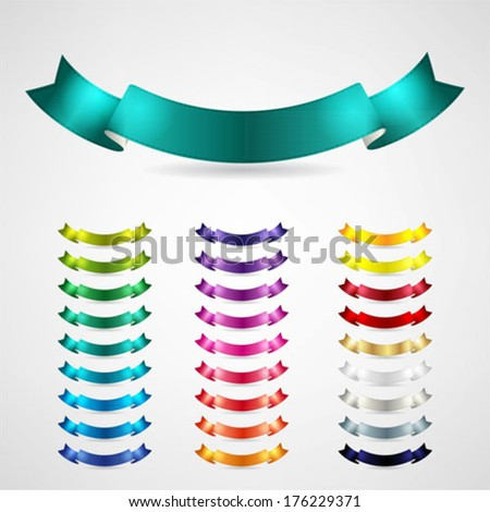 colorful ribbons set - stock vector