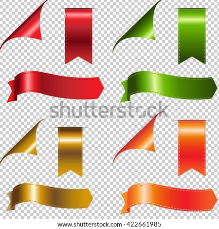 Colorful Ribbons Set, Isolated on Transparent Background, Vector Illustration - stock vector