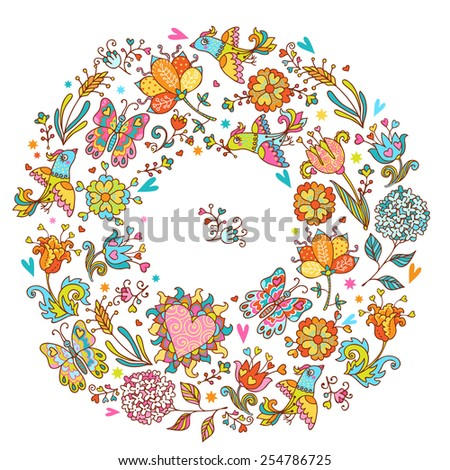 Colorful romantic round pattern with love birds, floral hearts, butterflies and flowers.  Can be used for cards, invitations, fabrics, wallpapers, ornamental template for design and decoration.