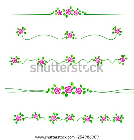 Colorful roses divider / frame set specially for wedding / valentine day related designs - stock vector