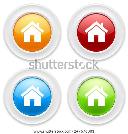 Colorful round buttons with house icon on white background - stock vector