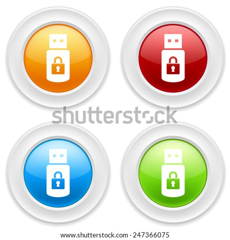 Colorful round buttons with secure usb icon on white background - stock vector