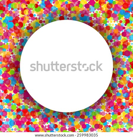 Colorful round celebration background. Isolated white banner. Vector illustration