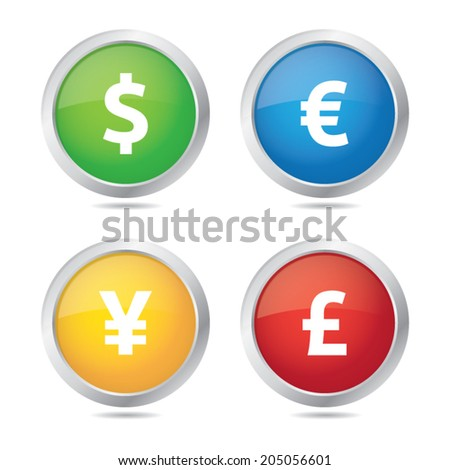 Colorful Round Currency Icons - stock vector