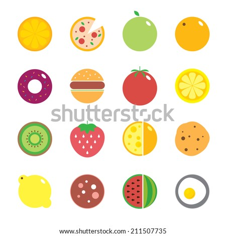 Colorful round fruits, vegetables, dishes and food icon set for market or cafe with place for logo. Vector modern illustration, stylish design element - stock vector
