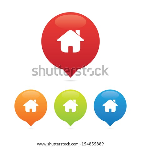 Colorful Round Home or House Pins - stock vector