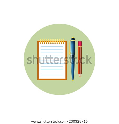 Colorful round   icon notebook with the pen and a pencil,  vector illustration