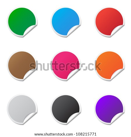 Colorful round labels - stock vector